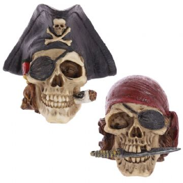 2x Gothic PIRATE PAIR  Skull Head Skeleton Horror Halloween SK305